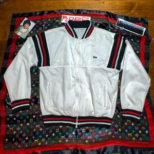 Christian Dior Striped Knit Bomber Jacket striped
